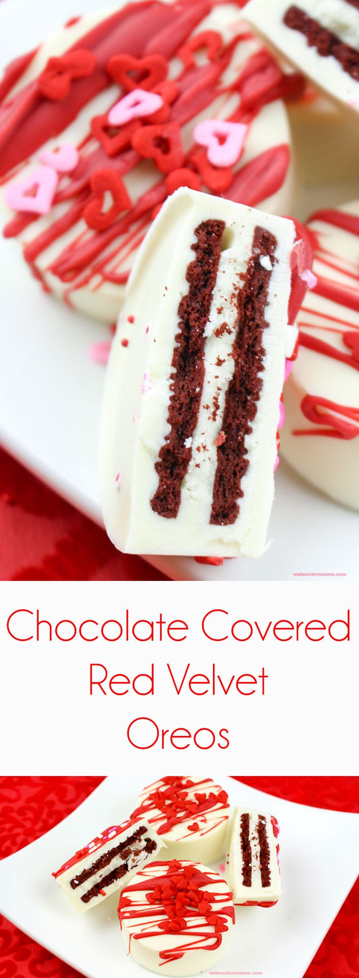Simple and delicious chocolate covered Red Velvet Oreos! These no-bake cookies are perfect for Valentine's Day treats.