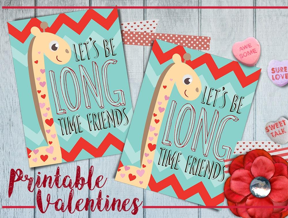 Free Printable Giraffe Valentine's Day Cards