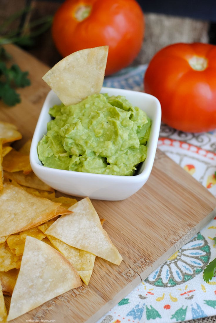 Homemade Chips and Guacamole Dip