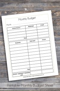 Printable Monthly Budget Sheet
