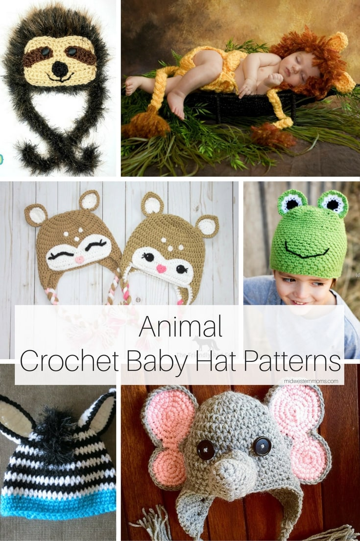 Easy Crochet Animal Hat Patterns : Animal Crochet Baby Hat Patterns