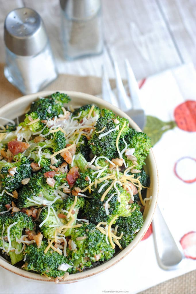 Broccoli salad in a bowl sitting on the table