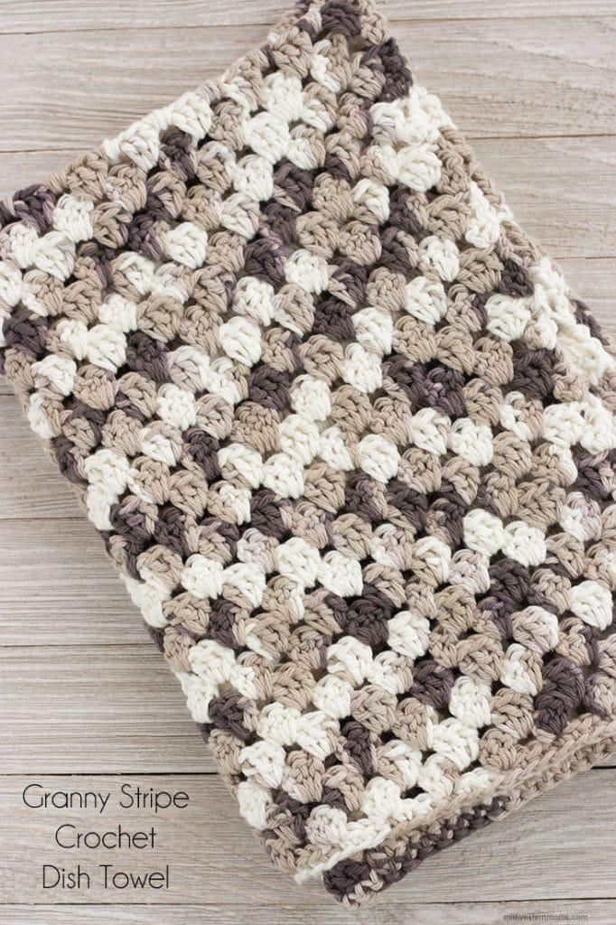 Granny Stripe Crochet Dish Towel Pattern