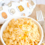 Mac 'n Cheese in a white bowl.