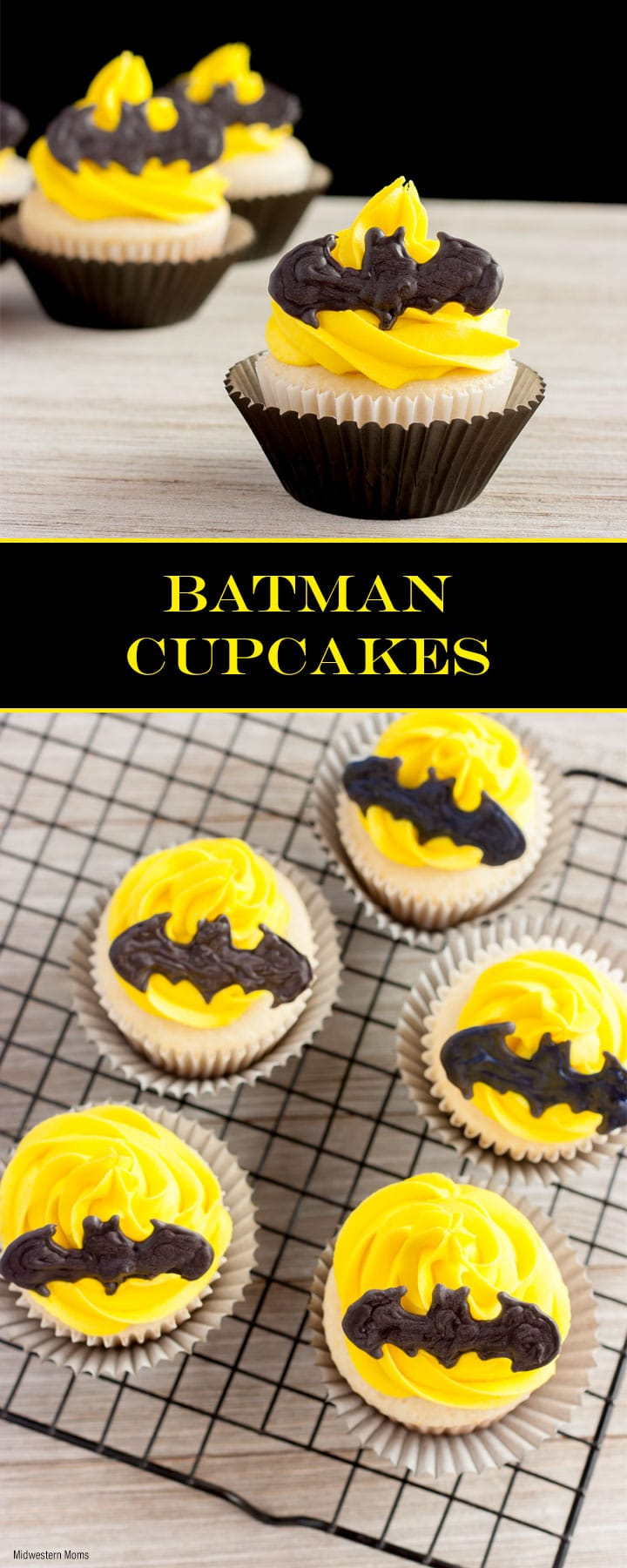 Need Batman cupcakes for a Batman-themed birthday party? These delicious cupcakes are topped with homemade yellow buttercream frosting and a candy bat shape.