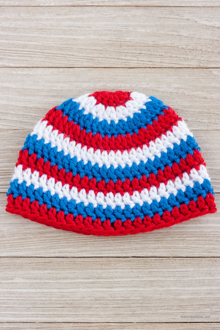 Easy Patriotic Crochet Baby Hat Pattern for the 4th of July! Simple to make with alternating colors using Caron Simply Soft Yarn. Printable Crochet Hat Measurements Chart too!