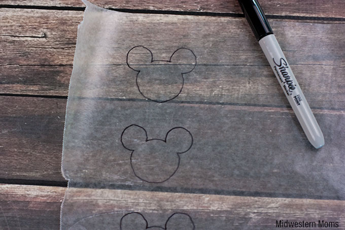 Tracing the Mickey Mouse Shape onto Wax Paper