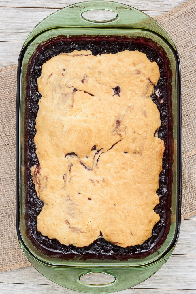 Triple Berry Cobbler made from Scratch in a 9X13 pan.