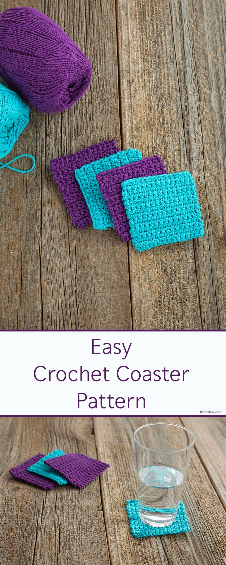 Easy crochet coaster pattern that is perfect for beginners! Simple pattern uses only single crochet stitches to make a square coaster.