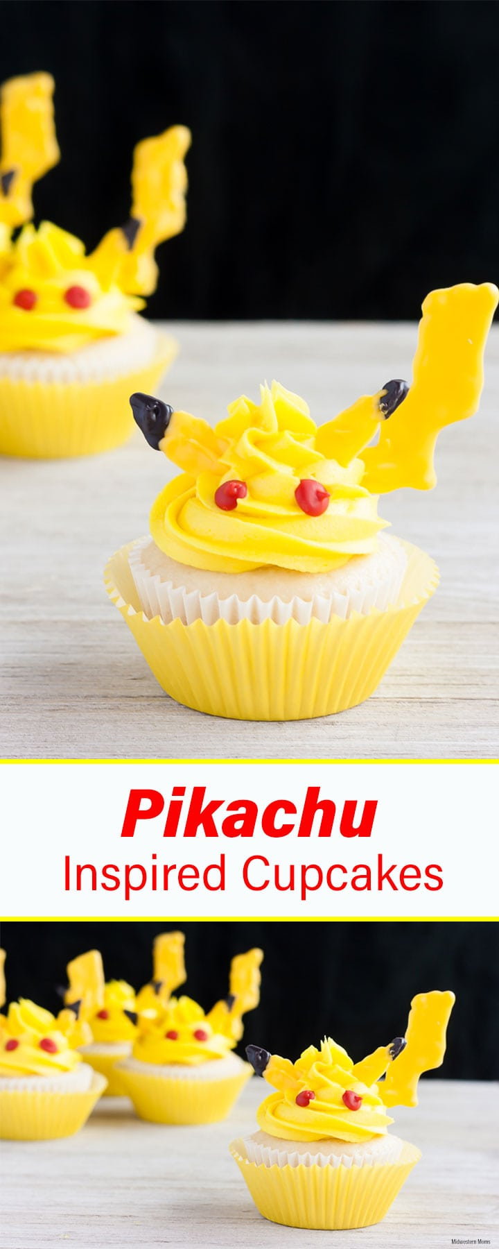 Adorable Pikachu cupcakes that you can make! These cupcakes are made from a doctored cake mix and topped with buttercream frosting and candy features! Perfect for a Pokemon themed birthday party!