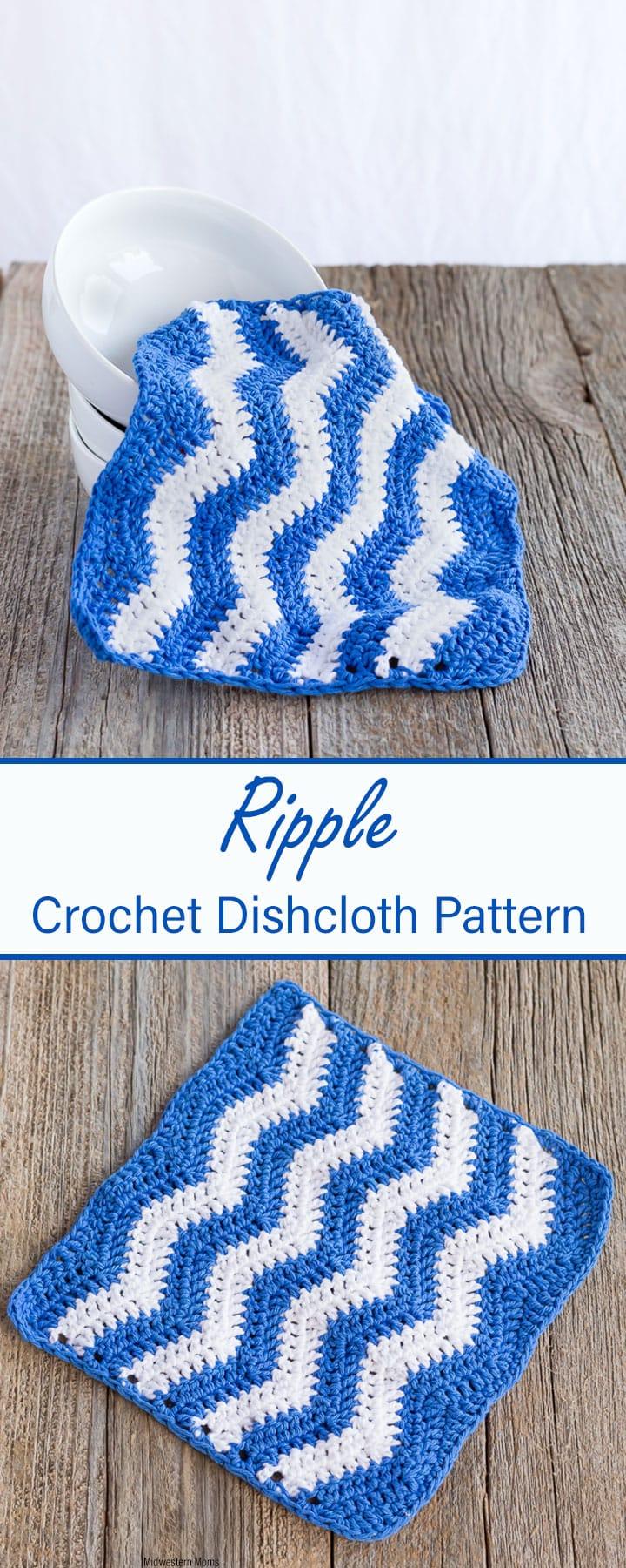 Easy Ripple Crochet Dishcloth Pattern! Choose 2 alternating colors to make a fun ripple design!