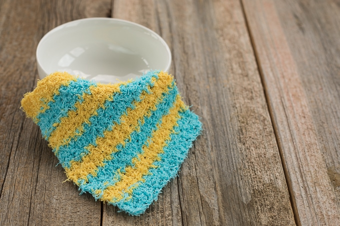 Scrubby Dishcloth made with the moss stitch
