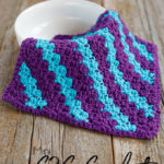 Mini C2C Stripe Crochet Dishcloth