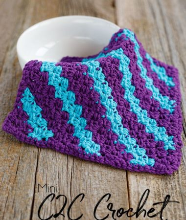 Stripe Mini C2C Crochet Dishcloth Pattern
