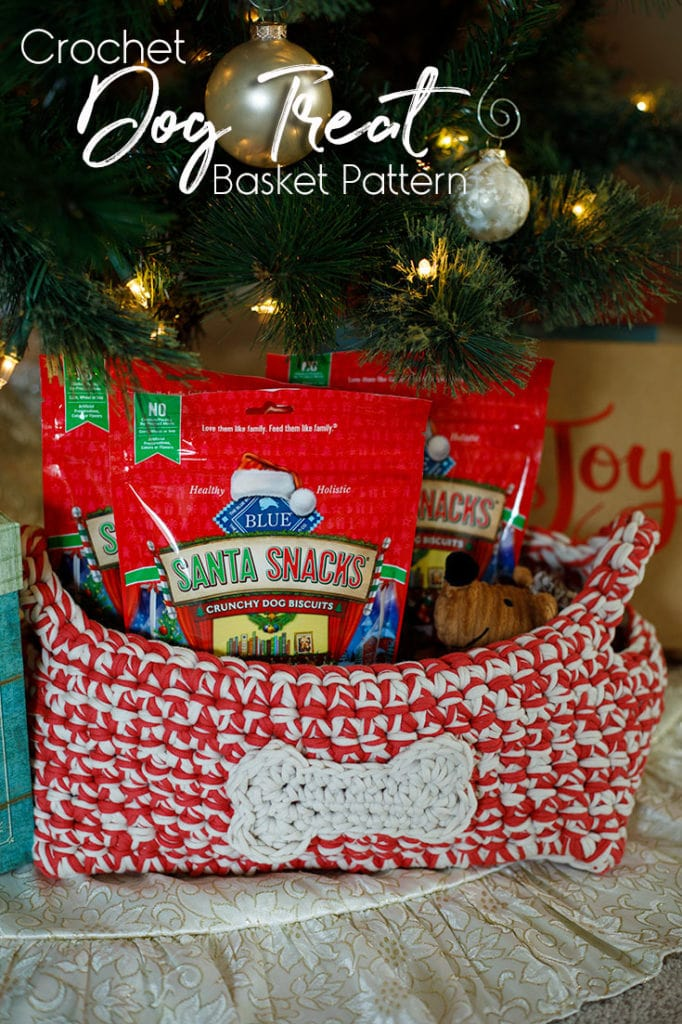 A crocheted basket that holds dog treats. Complete with a dog bone applique.
