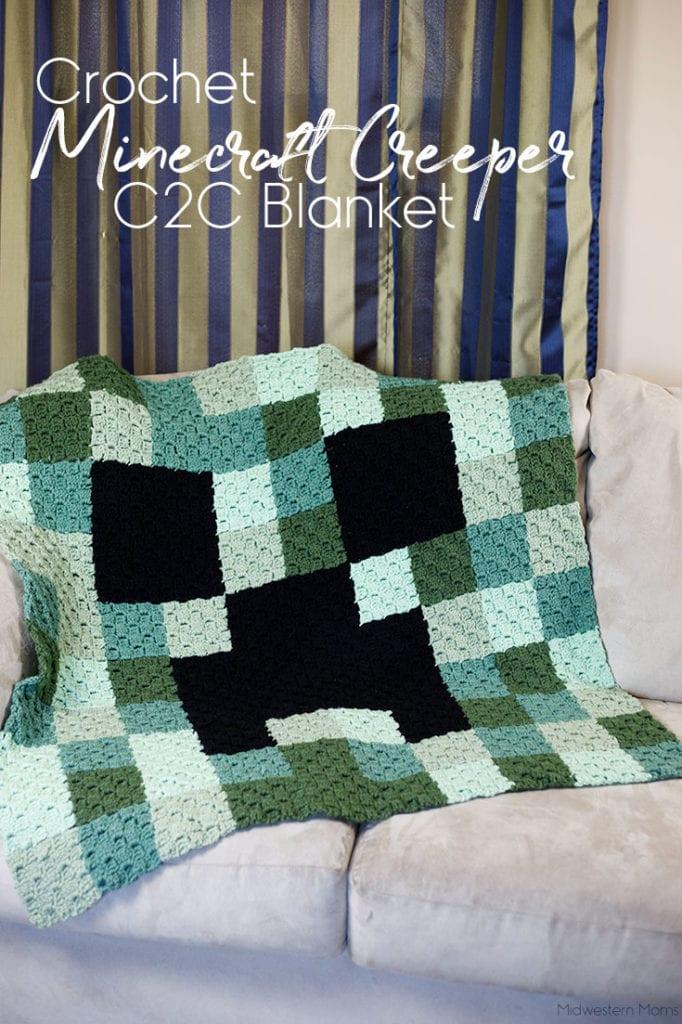 Crochet Minecraft Creeper c2c Blanket Pattern