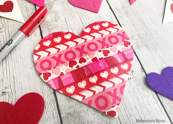 washi tape heart shaped valentine card