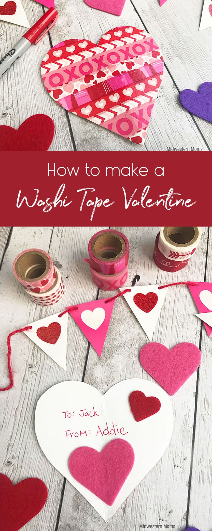 Want to get crafty with the kids for Valentine's Day? Learn how to make a simple washi tape valentine card that the kids will love to create for friends and family!
