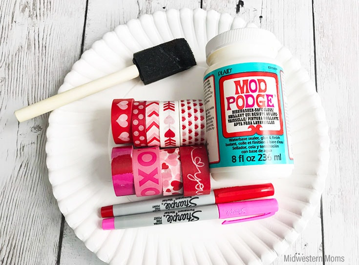 Supplies for making a washi tape valentine card