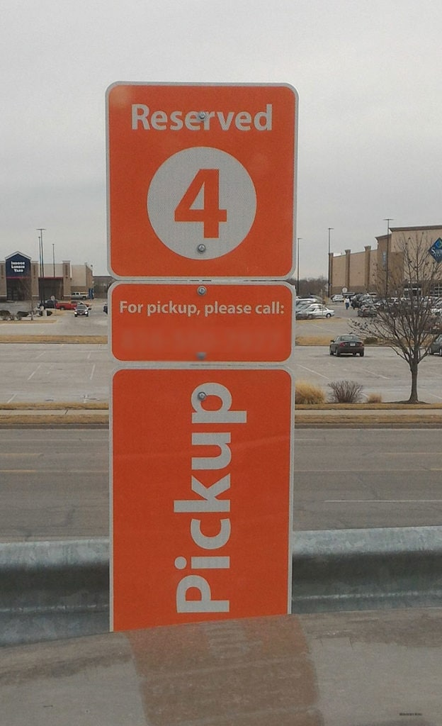 Inform Walmart which parking spot you are located in