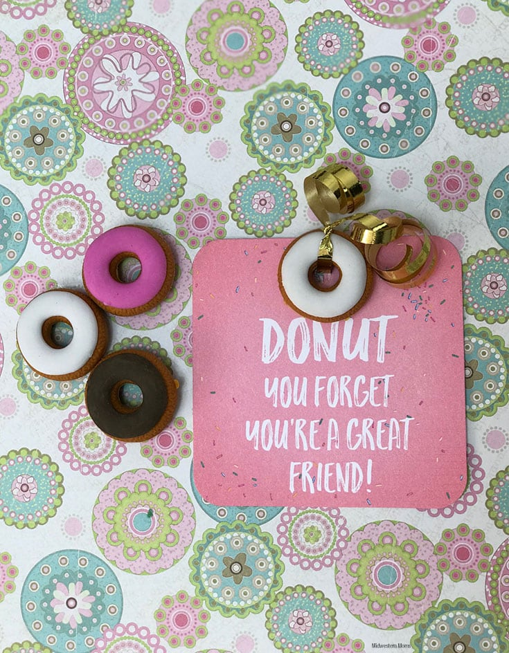 donut valentines with attached donut eraser