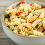 Zesty Italian Pasta Salad in a large crock-like bowl.