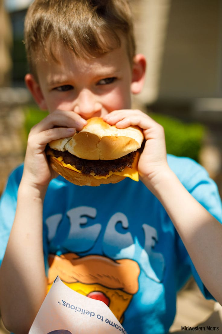 My son eating his Culver's ButterBurger