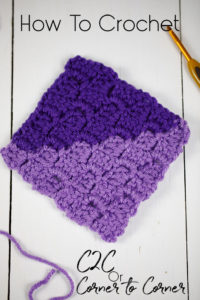 Crocheted square in the corner to corner method
