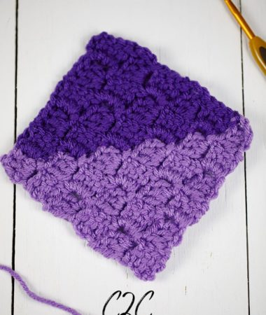 Crocheted square in the corner to corner method