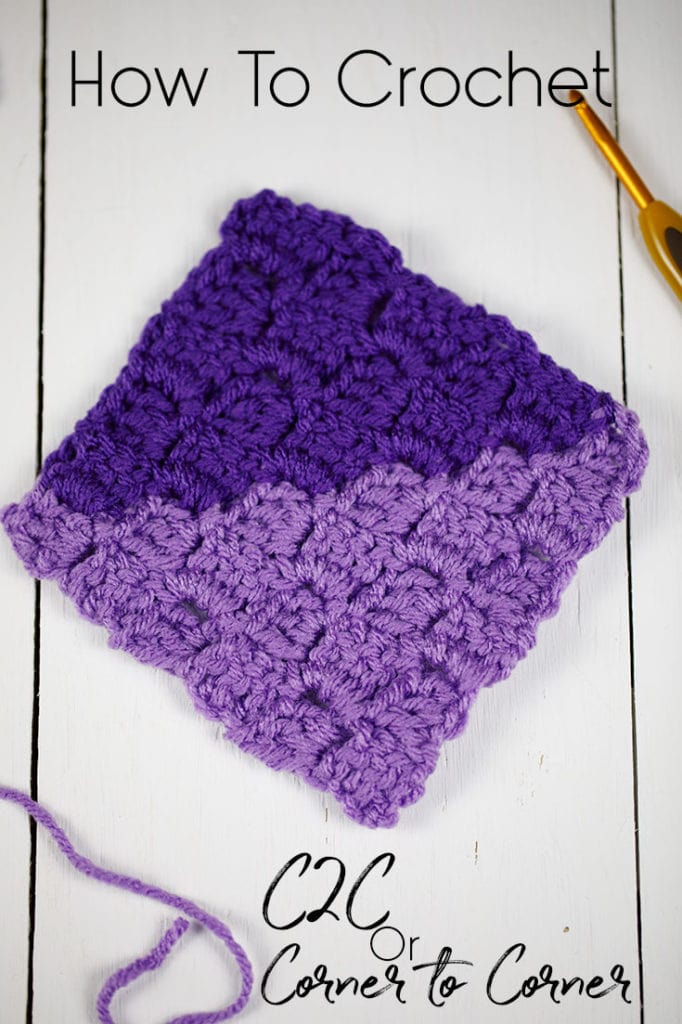 A crocheted square crocheted in the Corner to Corner (C2C) method.