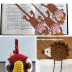 Show a collage of 3 images: monkey crochet bookmarks, parrot crochet bookmark and a hedgehog crochet bookmark.