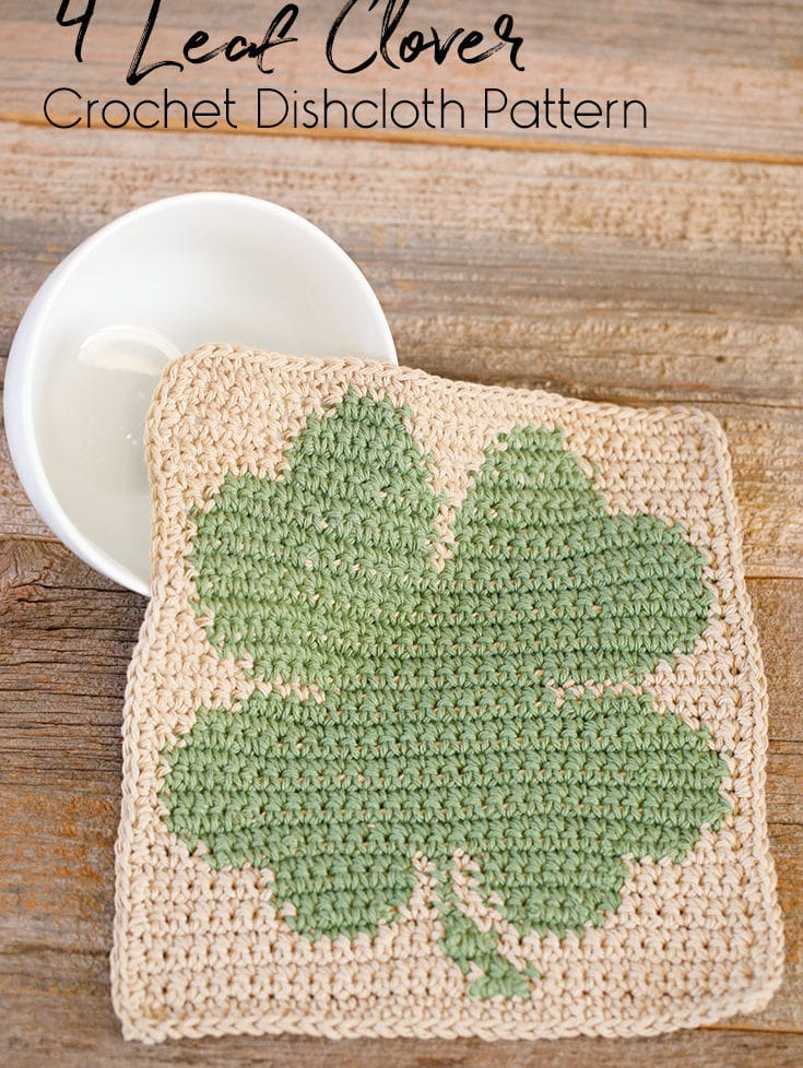 The perfect crochet dishcloth to turn your kitchen green for St. Patrick's day! Enjoy this free crochet dishcloth pattern.